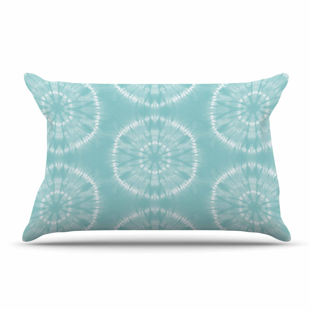 "Jacqueline Milton ""Shibori Circles - Aqua"" Teal Pastel Mixed Media Pillow Sham"