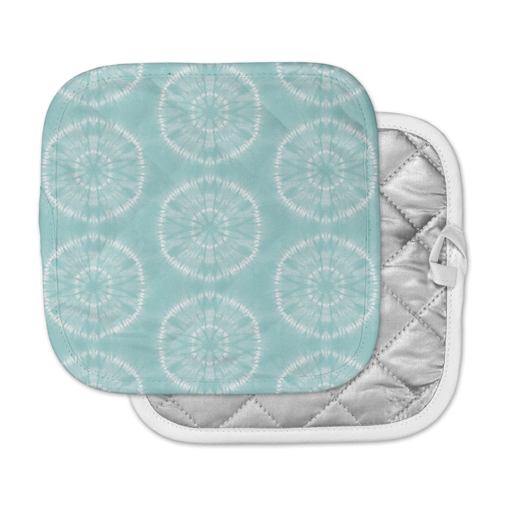 "Jacqueline Milton ""Shibori Circles - Aqua"" Teal Pastel Mixed Media Pot Holder"