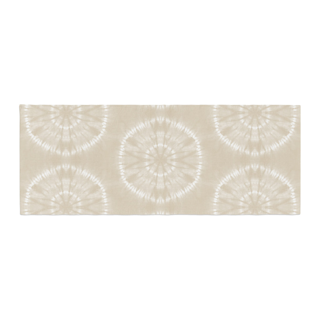 "Jacqueline Milton ""Shibori Circles - Latte"" Beige Pastel Mixed Media Bed Runner"