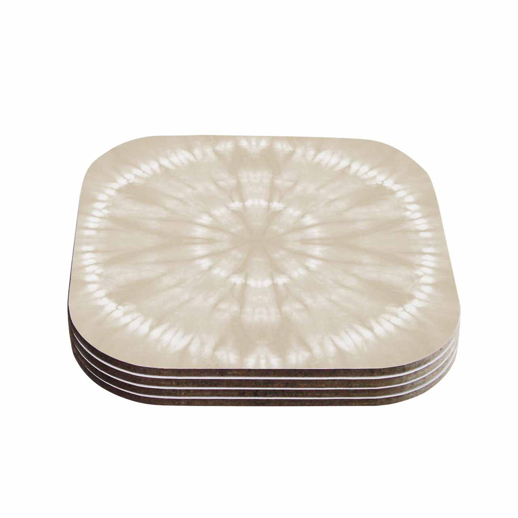 "Jacqueline Milton ""Shibori Circles - Latte"" Beige Pastel Mixed Media Coasters (Set of 4)"
