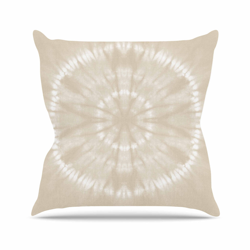 "Jacqueline Milton ""Shibori Circles - Latte"" Beige Pastel Mixed Media Outdoor Throw Pillow"