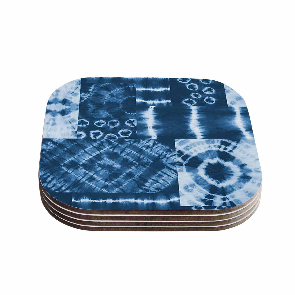 "Jacqueline Milton ""Shibori Patchwork - Indigo"" Blue Abstract Mixed Media Coasters (Set of 4)"