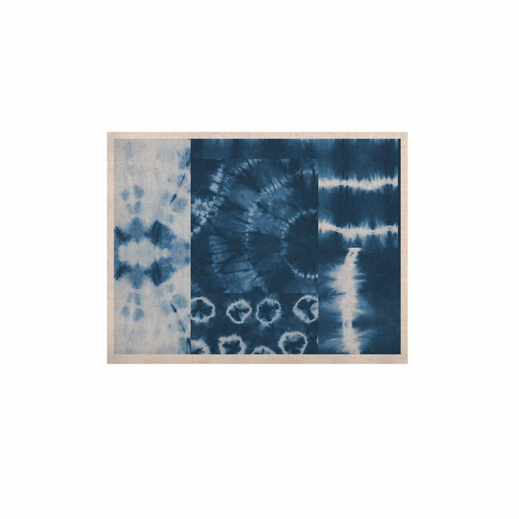 "Jacqueline Milton ""Shibori Patchwork - Indigo"" Blue Abstract Mixed Media KESS Naturals Canvas (Frame not Included)"
