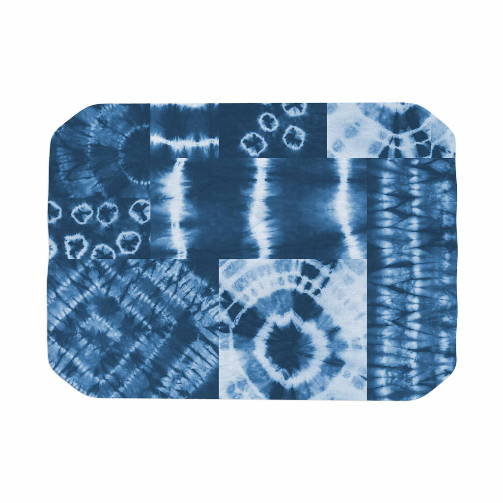 "Jacqueline Milton ""Shibori Patchwork - Indigo"" Blue Abstract Mixed Media Place Mat"