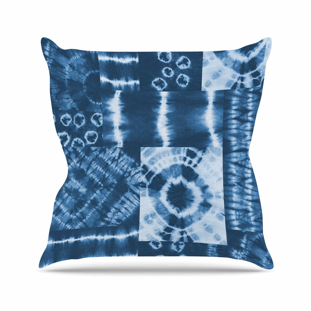 "Jacqueline Milton ""Shibori Patchwork - Indigo"" Blue Abstract Mixed Media Throw Pillow"