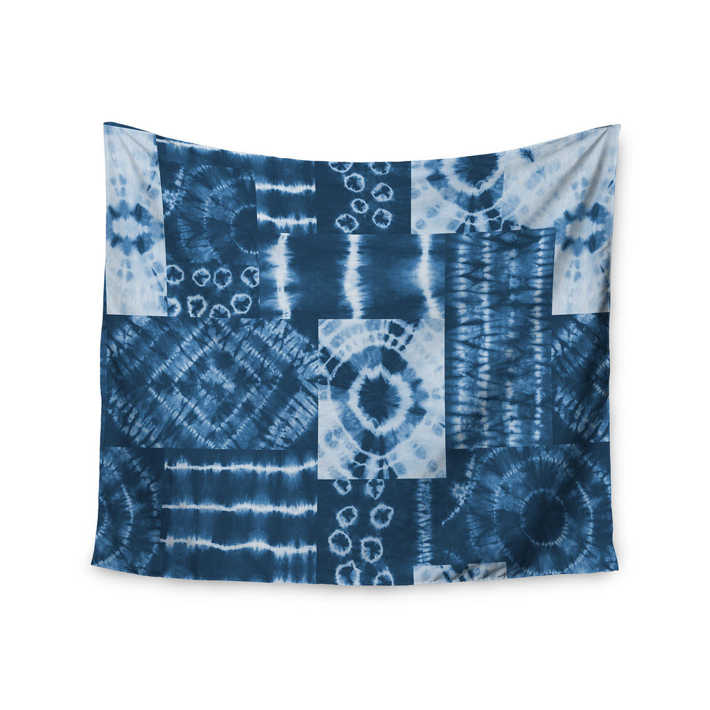 "Jacqueline Milton ""Shibori Patchwork - Indigo"" Blue Abstract Mixed Media Wall Tapestry - KESS InHouse  - 1"