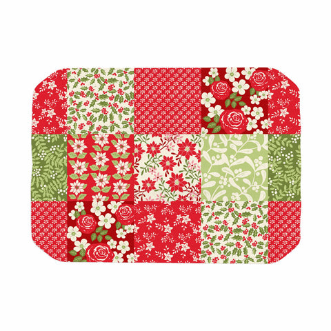 "Jacqueline Milton ""Christmas Patchwork"" Red Green Holiday Floral Painting Watercolor Place Mat"