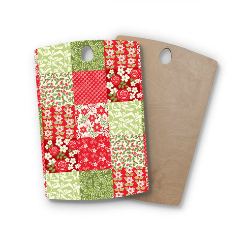 "Jacqueline Milton ""Christmas Patchwork"" Red Green Holiday Floral Painting Watercolor Rectangle Wooden Cutting Board"