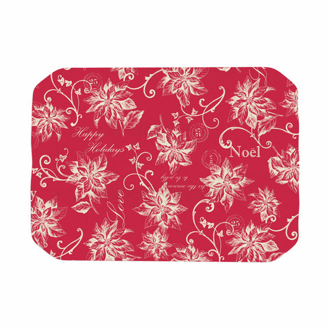 "Jacqueline Milton ""Poinsettia Joy"" Red Holiday Floral Illustration Painting Place Mat"