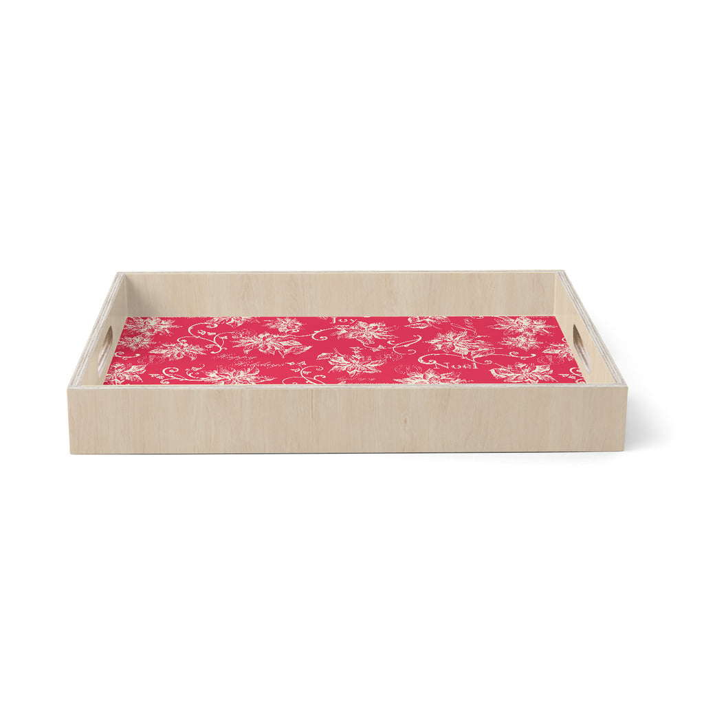 "Jacqueline Milton ""Poinsettia Joy"" Red Holiday Floral Illustration Painting Birchwood Tray"
