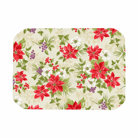 "Jacqueline Milton ""Poinsettia Posy"" Red Green Holiday Floral Painting Watercolor Place Mat"