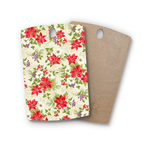 "Jacqueline Milton ""Poinsettia Posy"" Red Green Holiday Floral Painting Watercolor Rectangle Wooden Cutting Board"