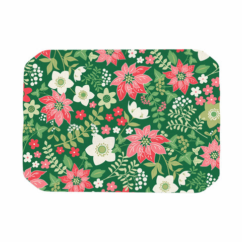 "Jacqueline Milton ""Christmas Flowers - Green"" Green Red Holiday Floral Illustration Vector Place Mat"