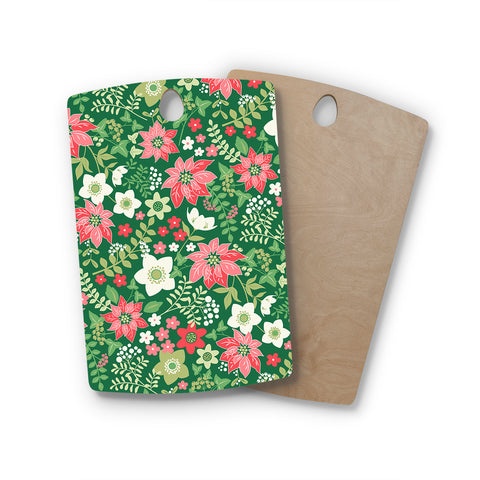 "Jacqueline Milton ""Christmas Flowers - Green"" Green Red Holiday Floral Illustration Vector Rectangle Wooden Cutting Board"