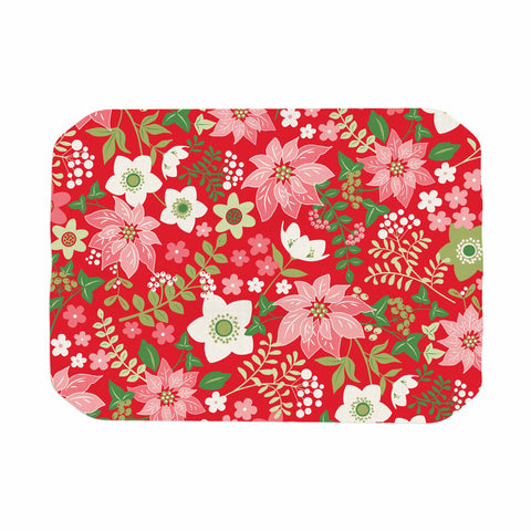 "Jacqueline Milton ""Christmas Flowers - Red"" Red Green Holiday Floral Illustration Vector Place Mat"