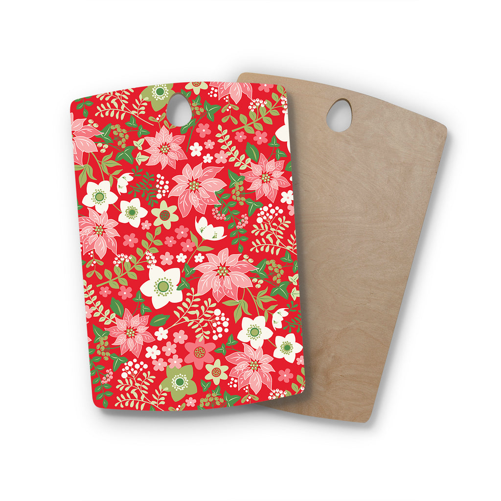 "Jacqueline Milton ""Christmas Flowers - Red"" Red Green Holiday Floral Illustration Vector Rectangle Wooden Cutting Board"