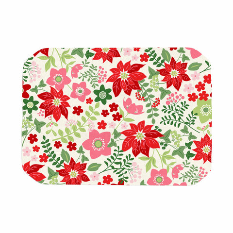 "Jacqueline Milton ""Christmas Flowers - White"" Red Green Holiday Floral Illustration Vector Place Mat"