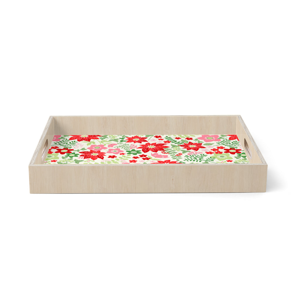 "Jacqueline Milton ""Christmas Flowers - White"" Red Green Holiday Floral Illustration Vector Birchwood Tray"