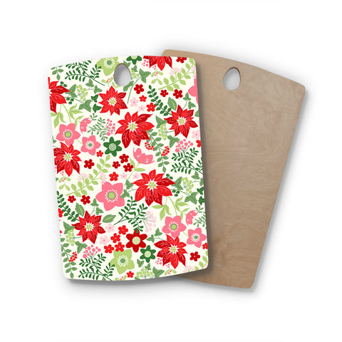 "Jacqueline Milton ""Christmas Flowers - White"" Red Green Holiday Floral Illustration Vector Rectangle Wooden Cutting Board"