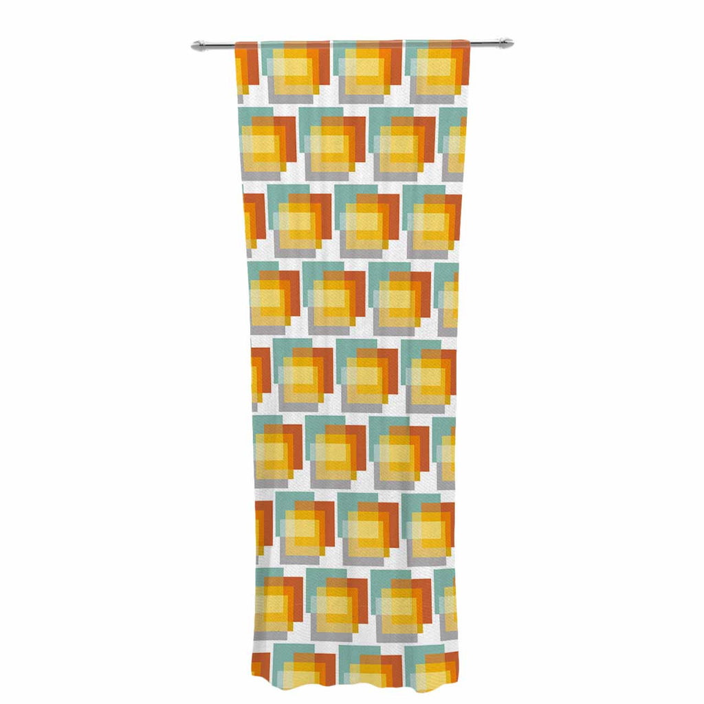 "Juliana Motzko ""GEO1"" Orange Multicolor Decorative Sheer Curtain - KESS InHouse  - 1"