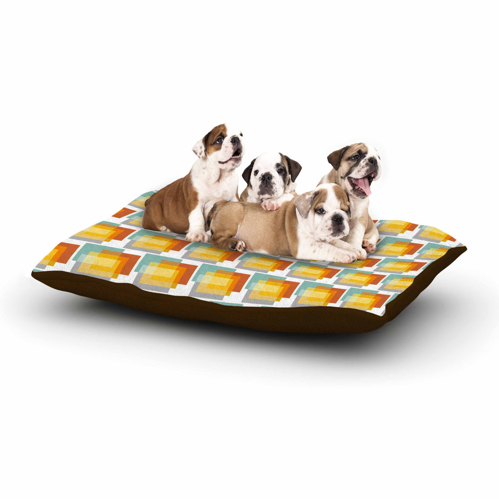 "Juliana Motzko ""GEO1"" Orange Multicolor Dog Bed - KESS InHouse  - 1"