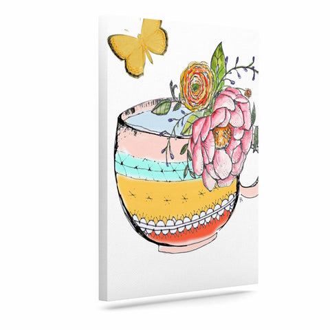 "Jennifer Rizzo ""Tea Cup Vase"" Yellow Vintage Canvas Art - Outlet Item"