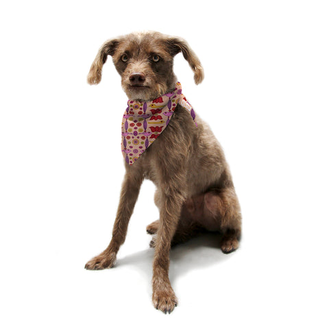 "Jane Smith ""Indian Jewelry II"" Tan Pink Pet Bandana - Outlet Item"