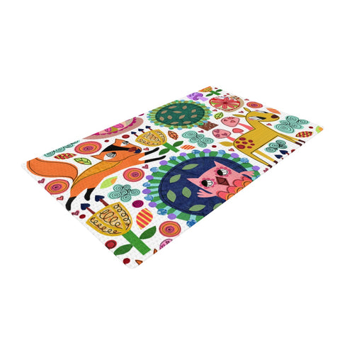"Jane Smith ""Woodland Critters"" Colorful Cartoon Woven Area Rug - Outlet Item"