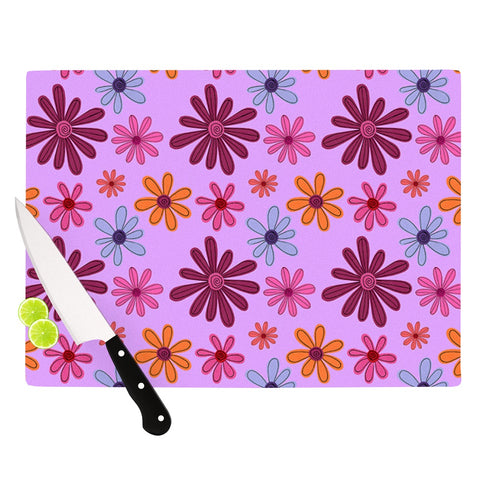 "Jane Smith ""Woodland Floral"" Purple Flowers Cutting Board - Outlet Item - KESS InHouse"