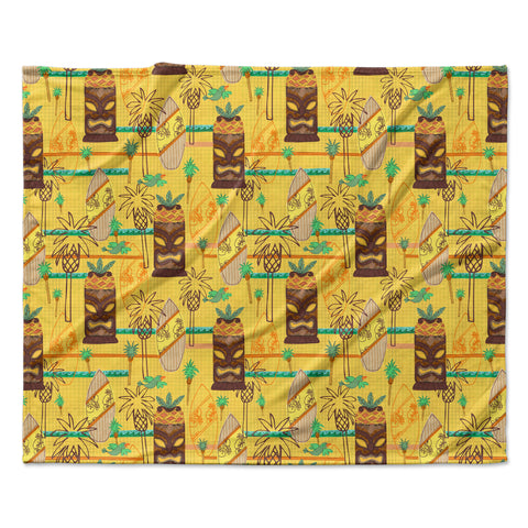 "Jane Smith ""Surfing Tiki"" Yellow Pattern Fleece Throw Blanket - Outlet Item"