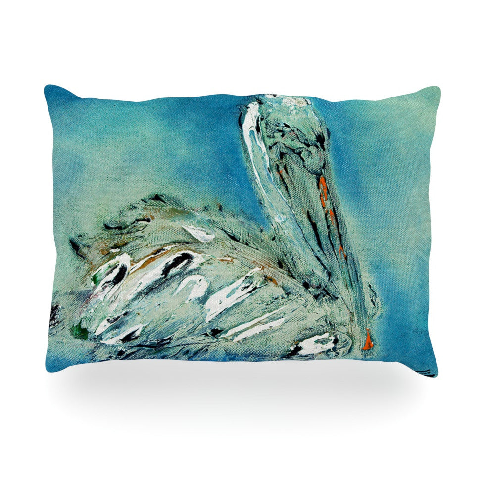 "Josh Serafin ""Drifter"" Blue Green Oblong Pillow - KESS InHouse"