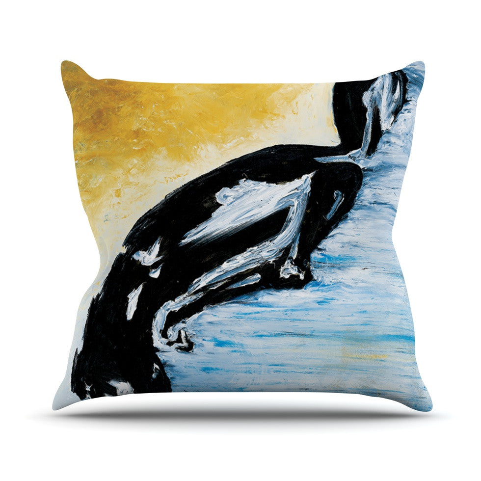 "Josh Serafin ""Hangin' 10"" Blue Orange Outdoor Throw Pillow - KESS InHouse  - 1"