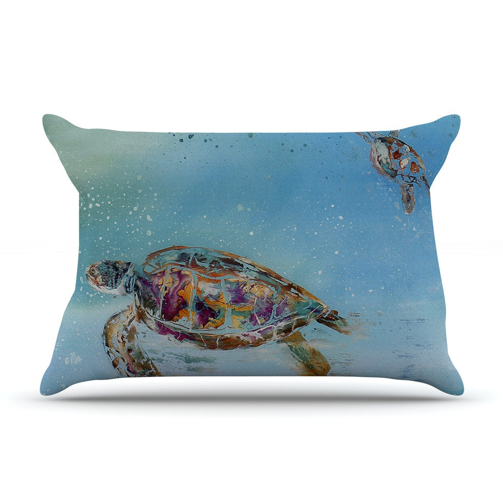 "Josh Serafin ""Home Sweet Home"" Blue Green Pillow Sham - KESS InHouse"