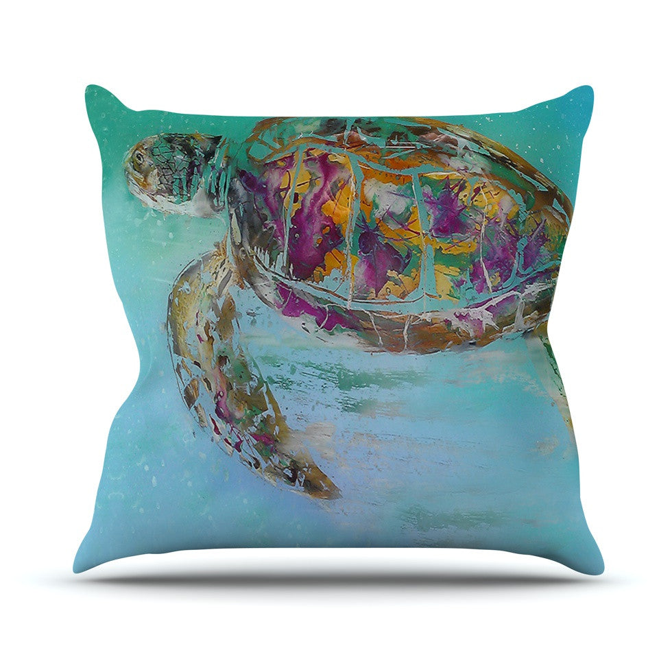 "Josh Serafin ""Mommy"" Turtle Outdoor Throw Pillow - KESS InHouse  - 1"