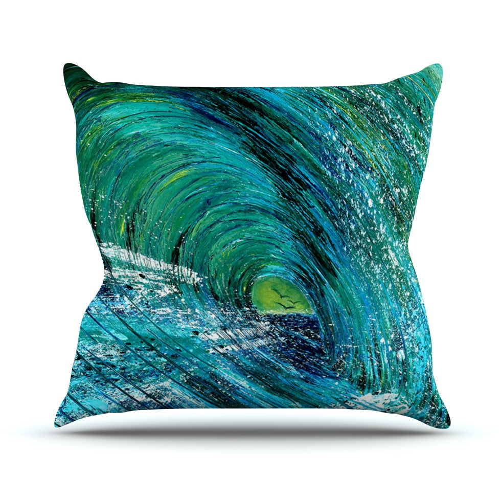"Josh Serafin ""Natural High"" Blue Green Outdoor Throw Pillow - KESS InHouse  - 1"