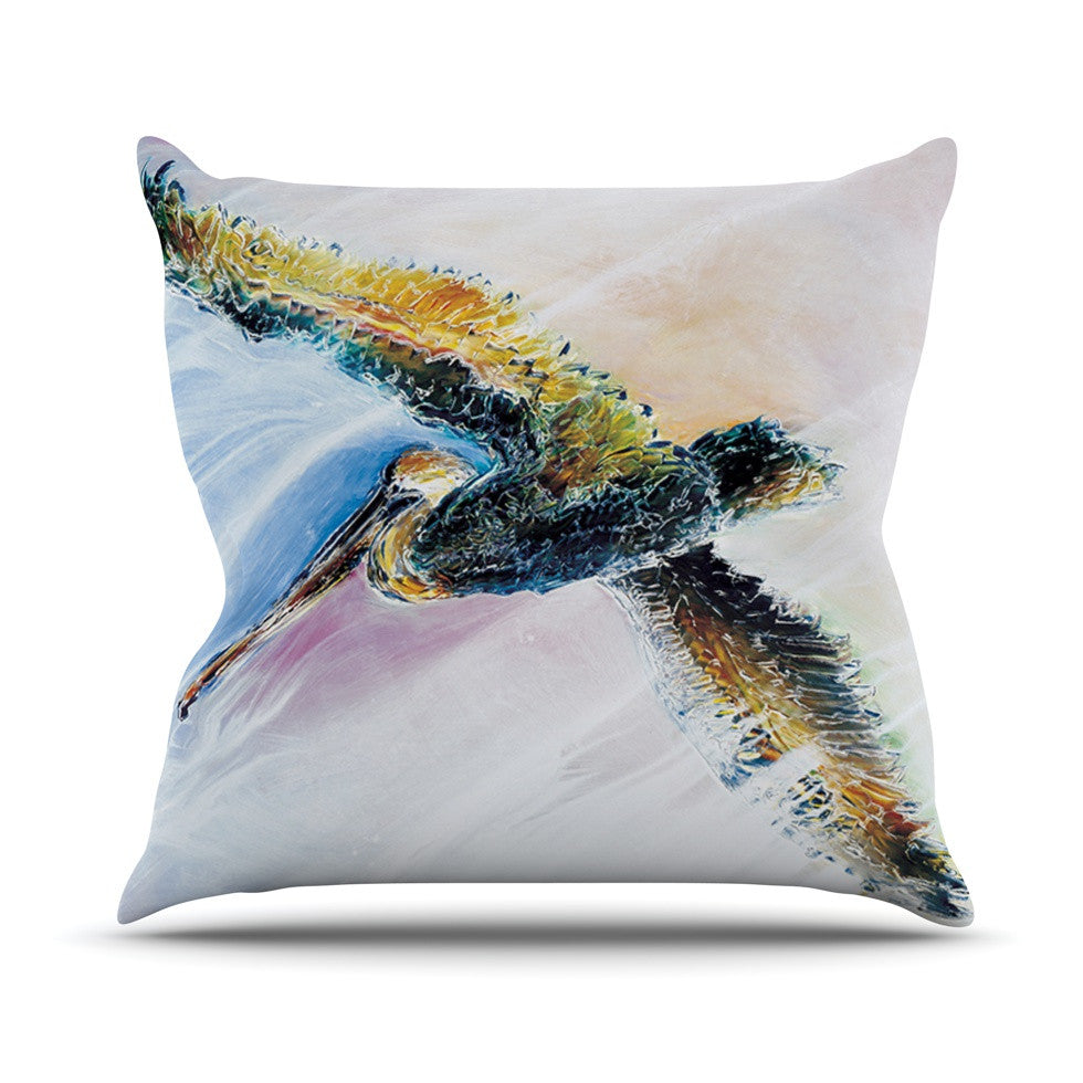 "Josh Serafin ""Overhead"" Pastel Bird Throw Pillow - KESS InHouse  - 1"