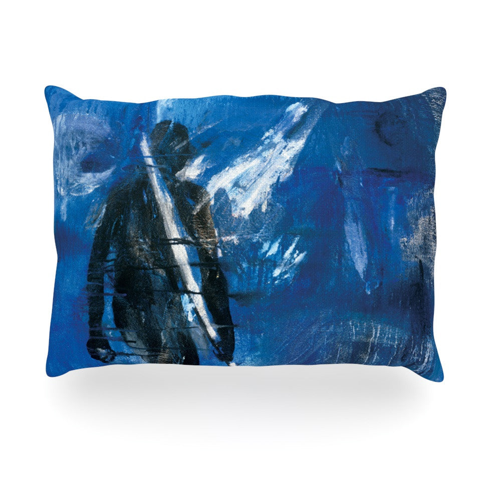 "Josh Serafin ""Release"" Blue Black Oblong Pillow - KESS InHouse"