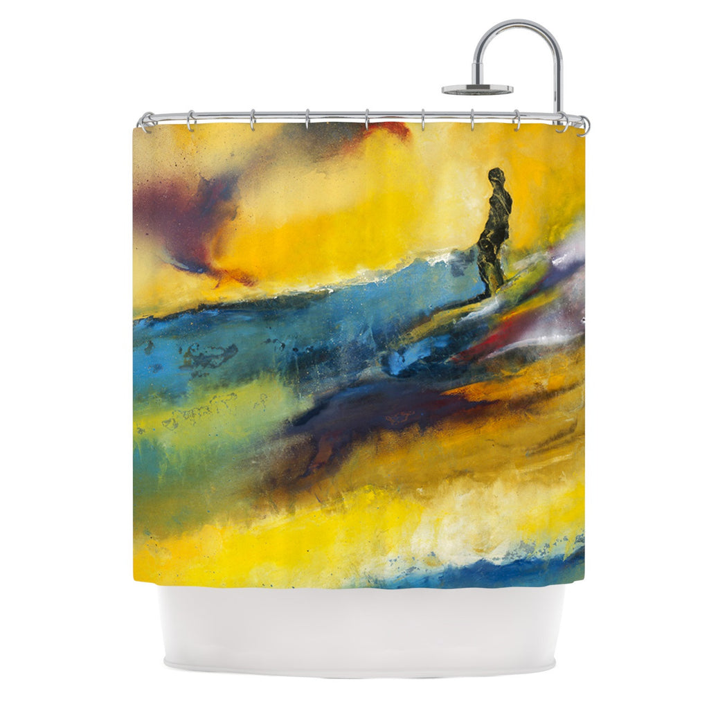 "Josh Serafin ""Sano"" Yellow Surf Shower Curtain - KESS InHouse"