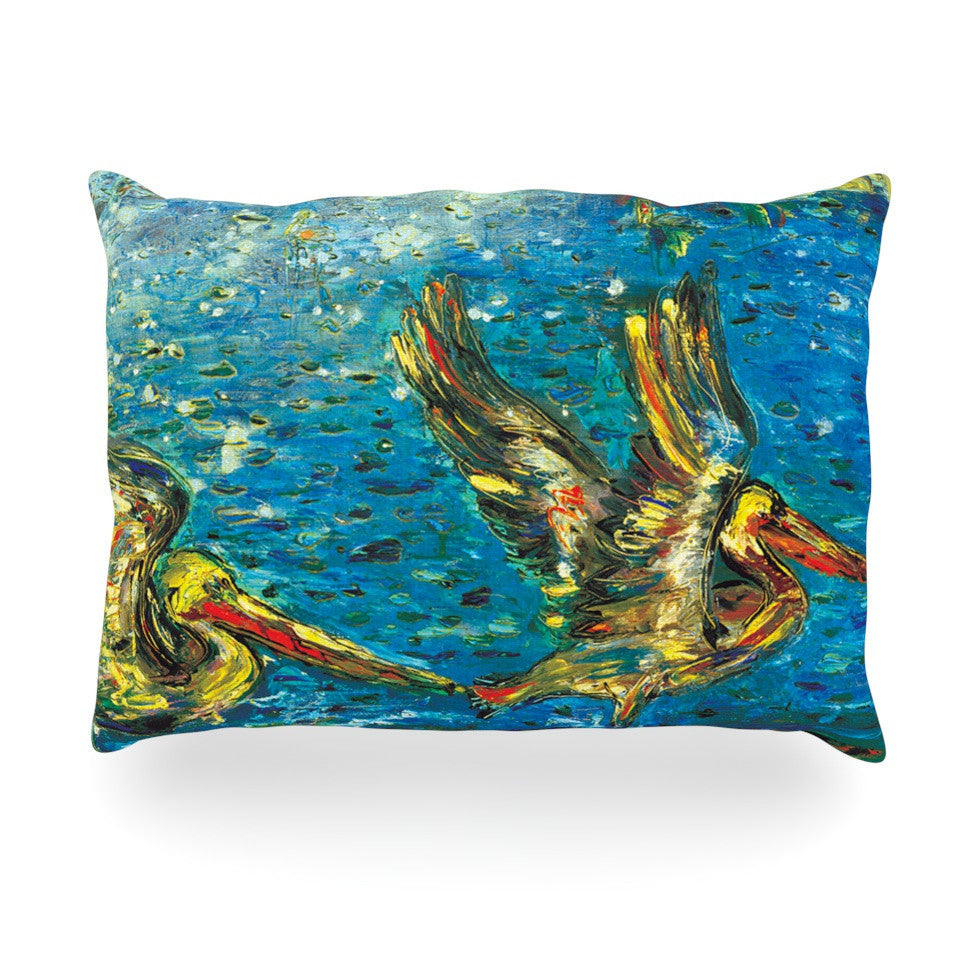 "Josh Serafin ""Seabirds"" Blue Yellow Oblong Pillow - KESS InHouse"