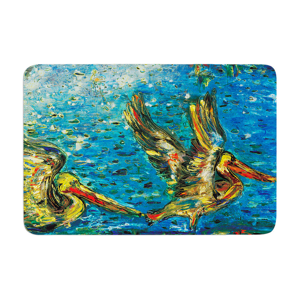 "Josh Serafin ""Seabirds"" Blue Yellow Memory Foam Bath Mat - KESS InHouse"