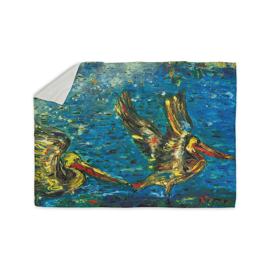 "Josh Serafin ""Seabirds"" Blue Yellow Sherpa Blanket - KESS InHouse  - 1"