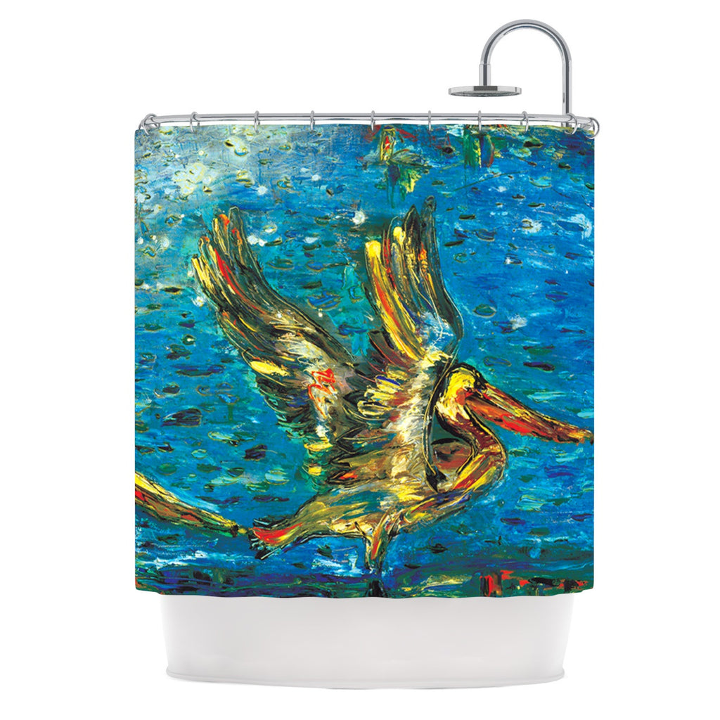 "Josh Serafin ""Seabirds"" Blue Yellow Shower Curtain - KESS InHouse"