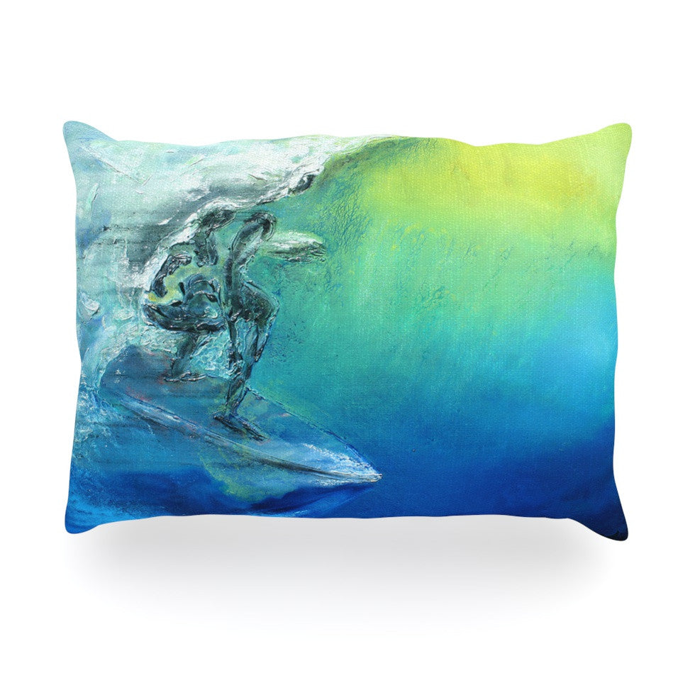 "Josh Serafin ""September High"" Blue Green Oblong Pillow - KESS InHouse"