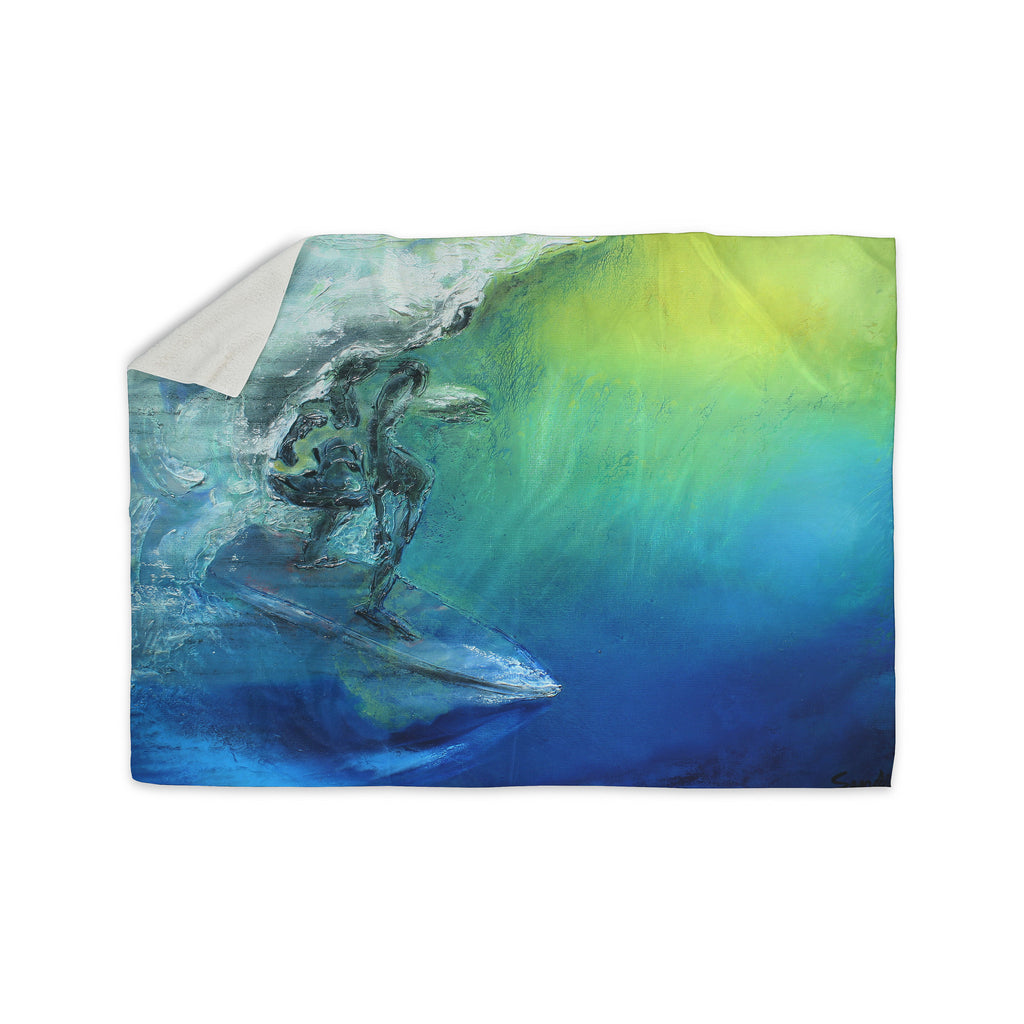 "Josh Serafin ""September High"" Blue Green Sherpa Blanket - KESS InHouse  - 1"