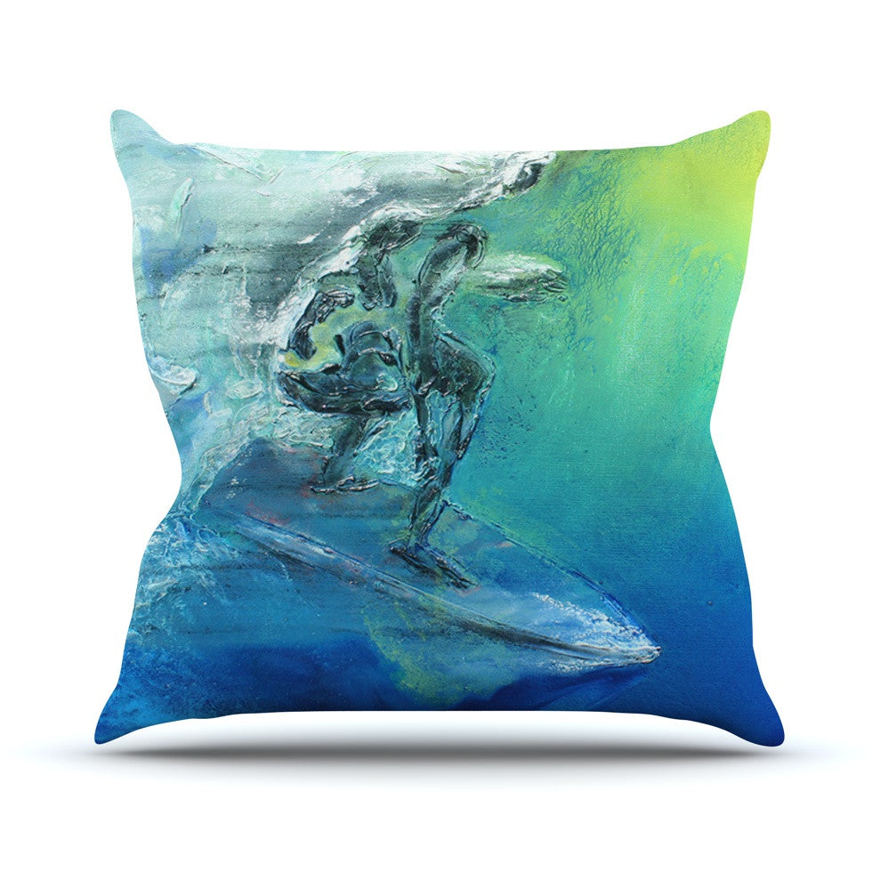 "Josh Serafin ""September High"" Blue Green Throw Pillow - KESS InHouse  - 1"