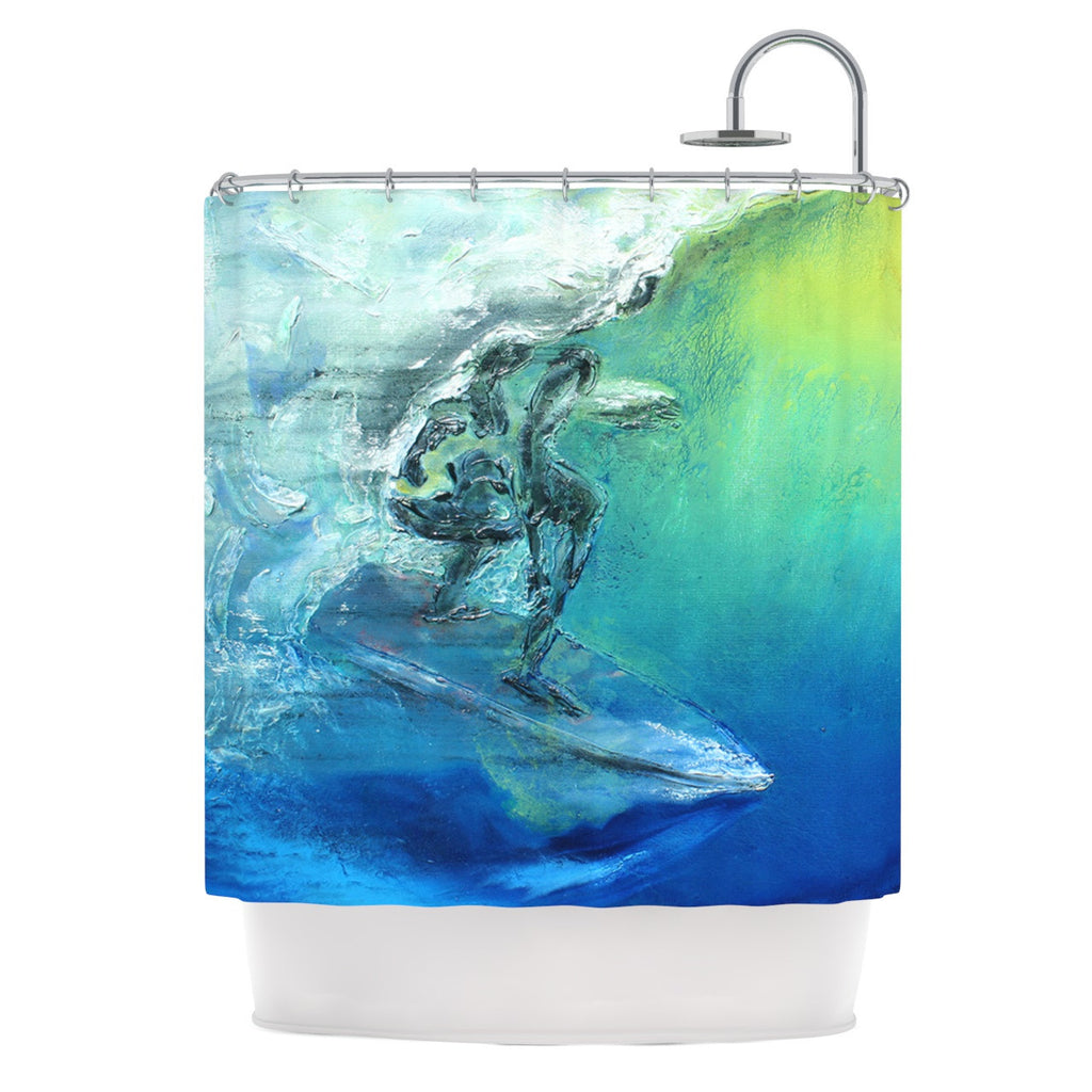 "Josh Serafin ""September High"" Blue Green Shower Curtain - KESS InHouse"