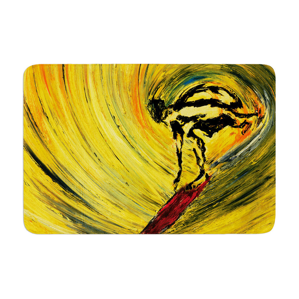 "Josh Serafin ""Suppose"" Yellow Black Memory Foam Bath Mat - KESS InHouse"