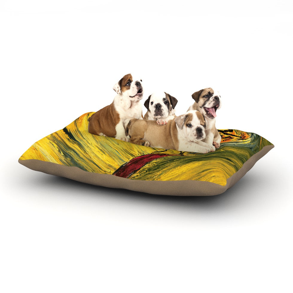 "Josh Serafin ""Suppose"" Yellow Black Dog Bed - KESS InHouse  - 1"