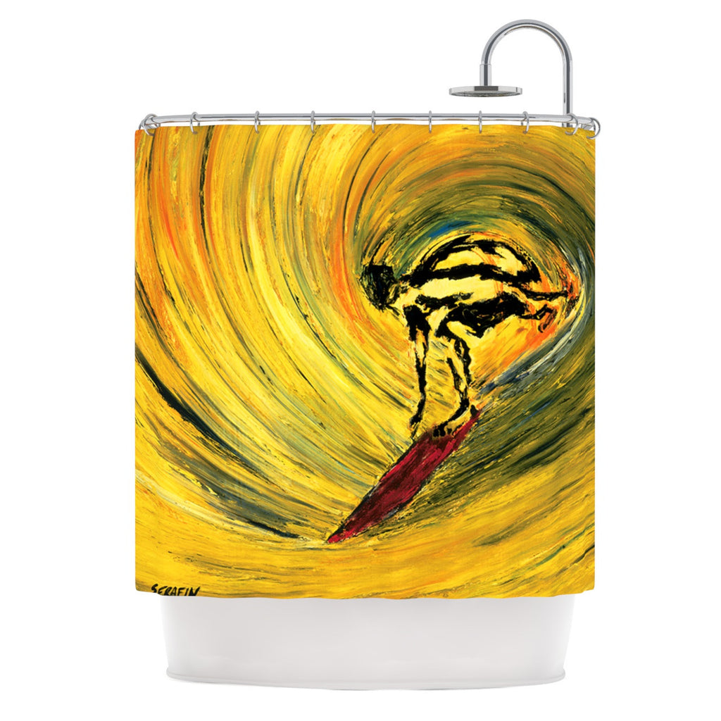 "Josh Serafin ""Suppose"" Yellow Black Shower Curtain - KESS InHouse"