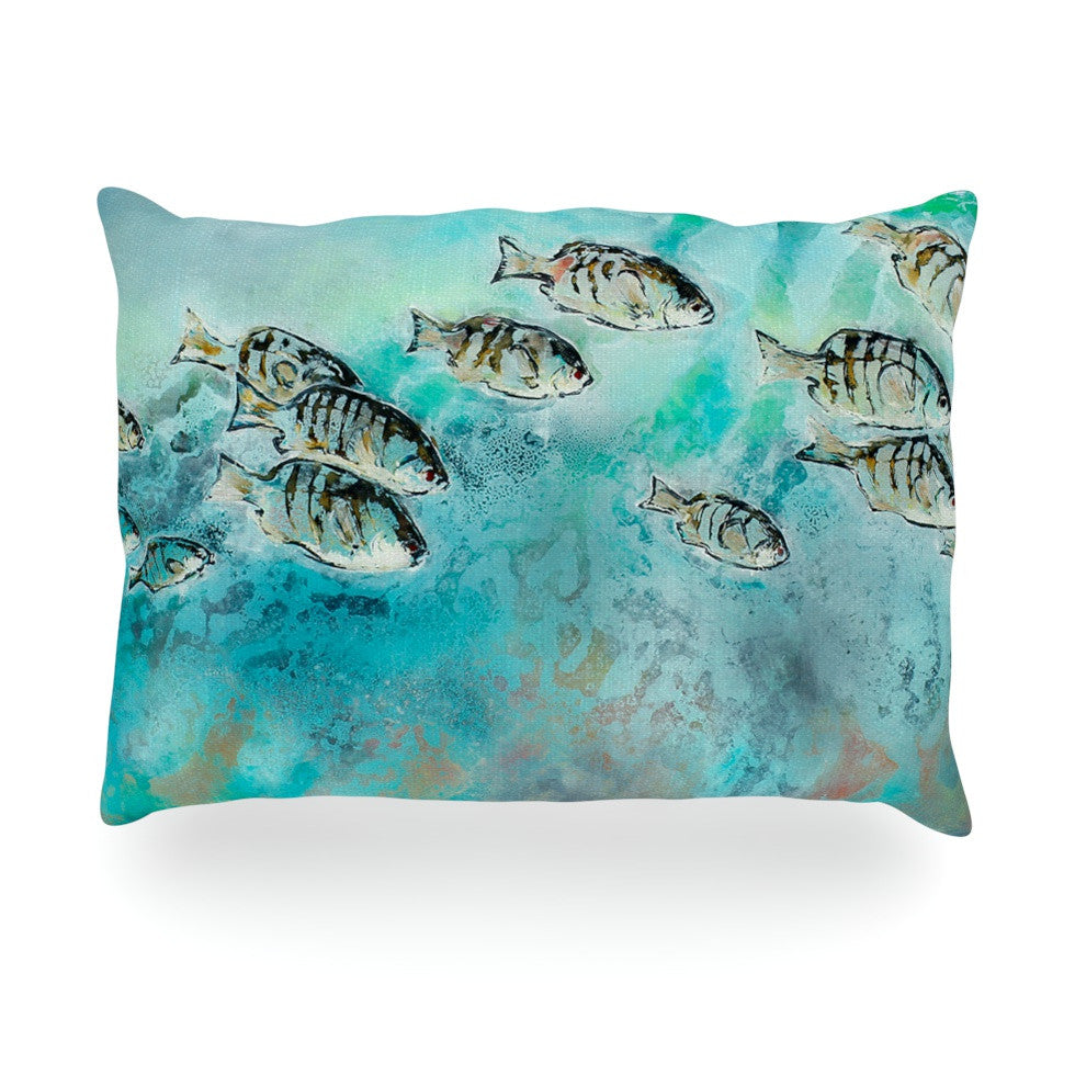 "Josh Serafin ""Surf Perch"" Blue Green Oblong Pillow - KESS InHouse"